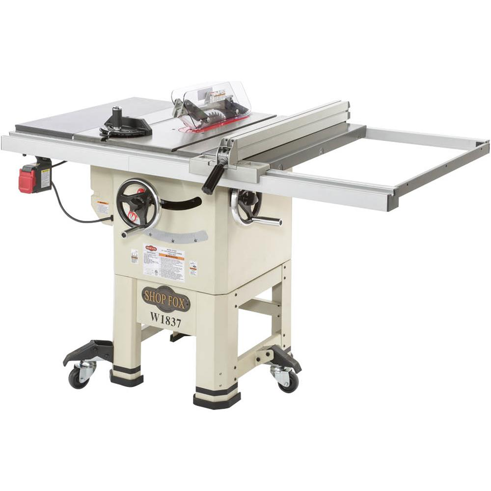 """Shop Fox W1837 10"""" 2 HP Open-Stand Hybrid Table Saw with Enclosed Cabinet Bottom by"""