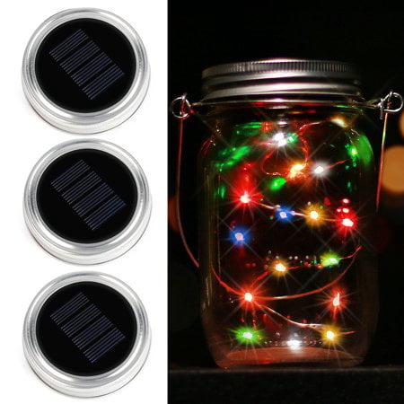 Kohree 3-Pack Solar Mason Jar Lids with 10 LED Mason Jar Lights, Color Changing Fairy Starry String Lights for Glass Mason Jars and Garden Party Decor - Halloween Glass Jar Lights