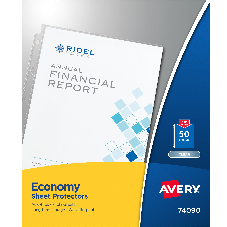 Avery Economy Clear Sheet Protectors, Acid-Free, 50 Protectors (74090)