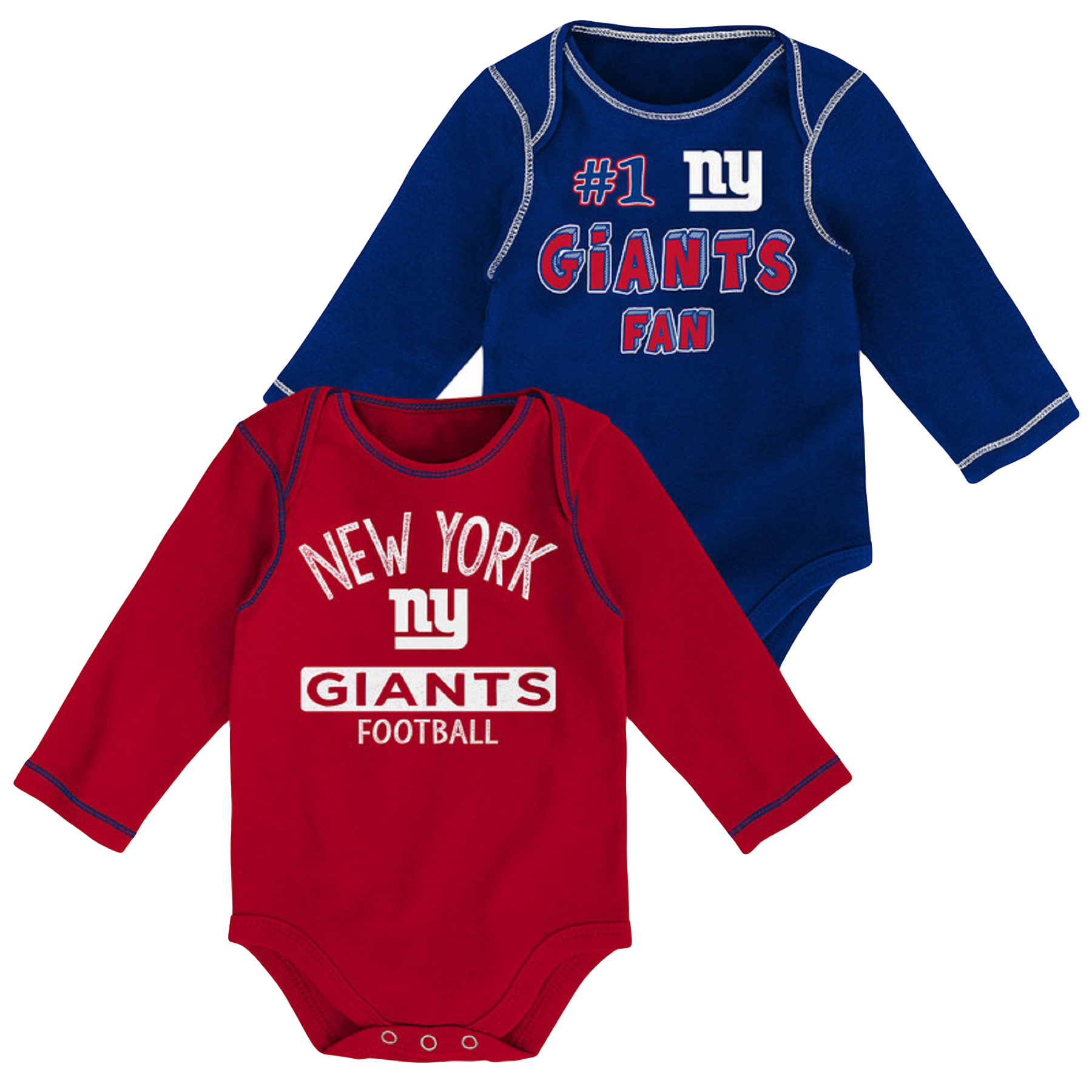 Newborn & Infant Royal/Red New York Giants 2-Pack Long Sleeve Bodysuits