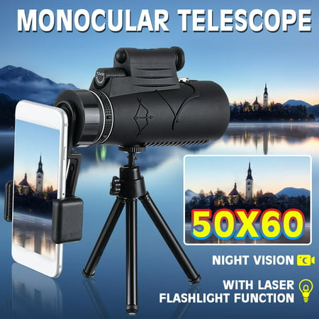 12-50x60mm Zoom Spotting Scope (Black), HD Monocular Spotting Scope Telescope with Tripod & Phone Adapter thumbnail