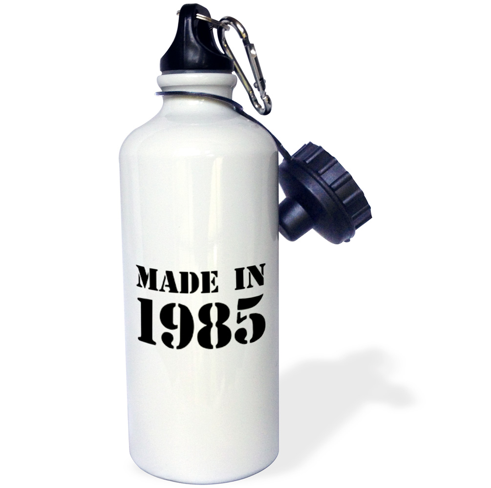 3dRose Made in 1985 - funny birthday birth year text - fun black bday stamp with year you were born - humor, Sports Water Bottle, 21oz