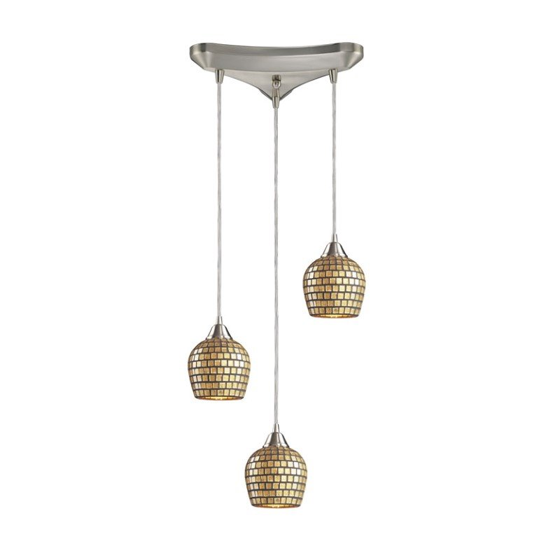 Fusion Pendant-Canopy:3 Lighted Triangle,Shade:Gold Leaf