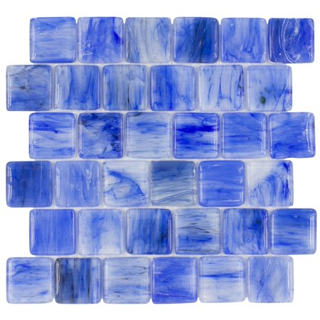 MTO0116 Modern 2X2 Pillowed Squares Light Blue Glossy Translucent Glass Mosaic Tile (Translucent Glass Tile)