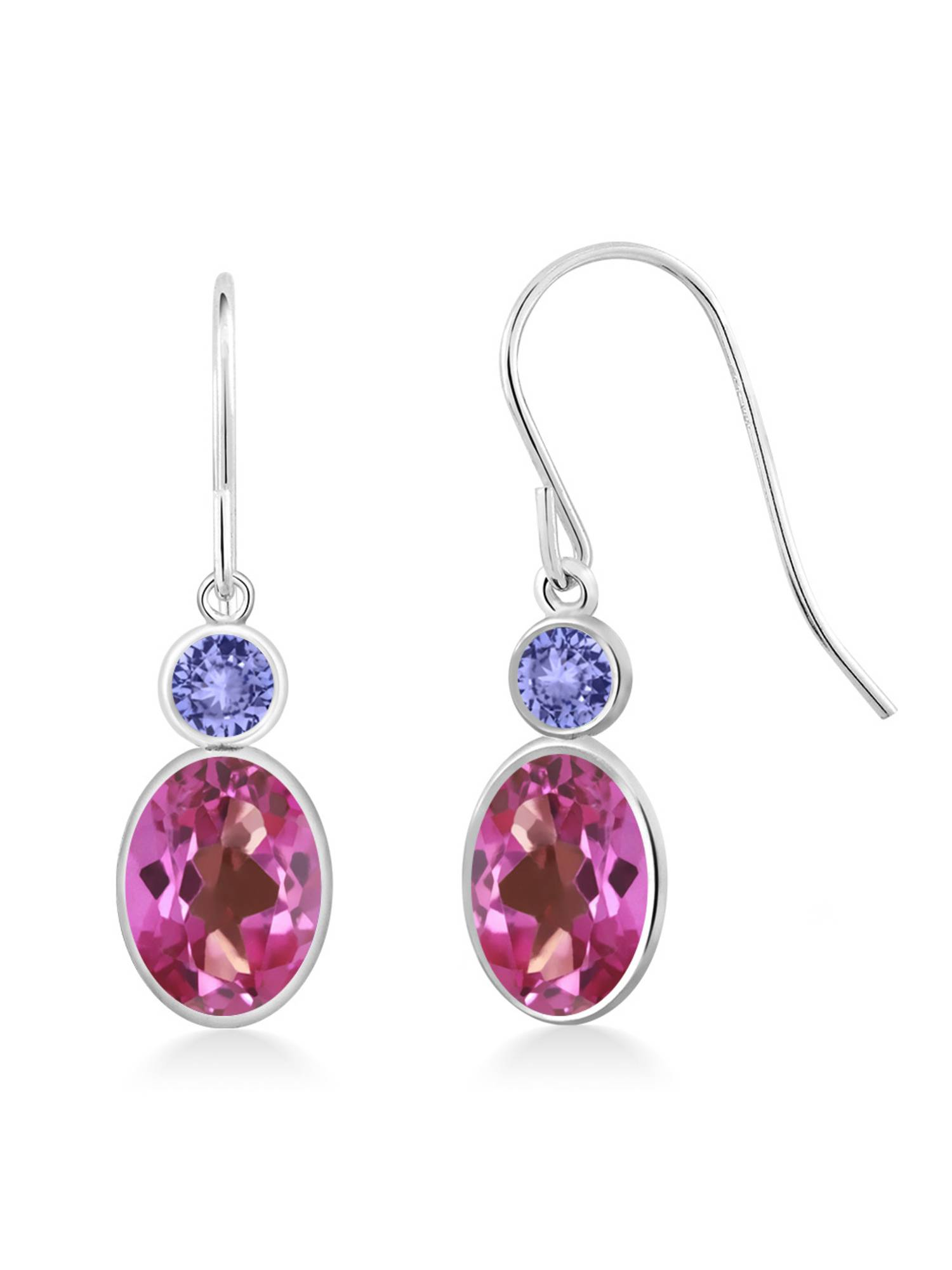 2.14 Ct Oval Pink Mystic Topaz Blue Tanzanite 14K White Gold Earrings by
