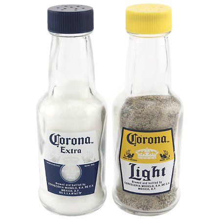 Miniature Corona Bottle Salt And Pepper Shakers - Glass