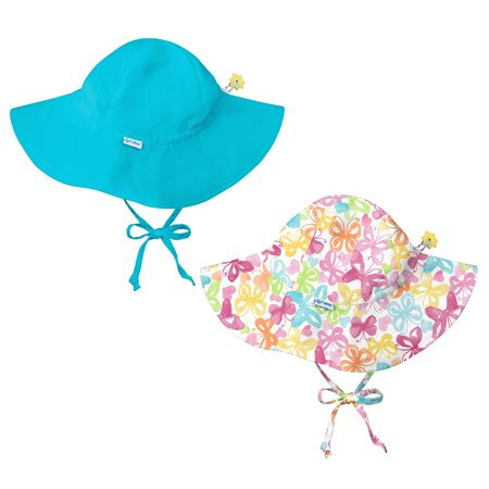 d0ab90254 i play Baby and Toddler Brim Sun Protection Hat-Butterfly and Aqua Blue - 2  Pack