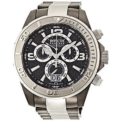Invicta reserve chronograph black dial two-tone mens watch 14053