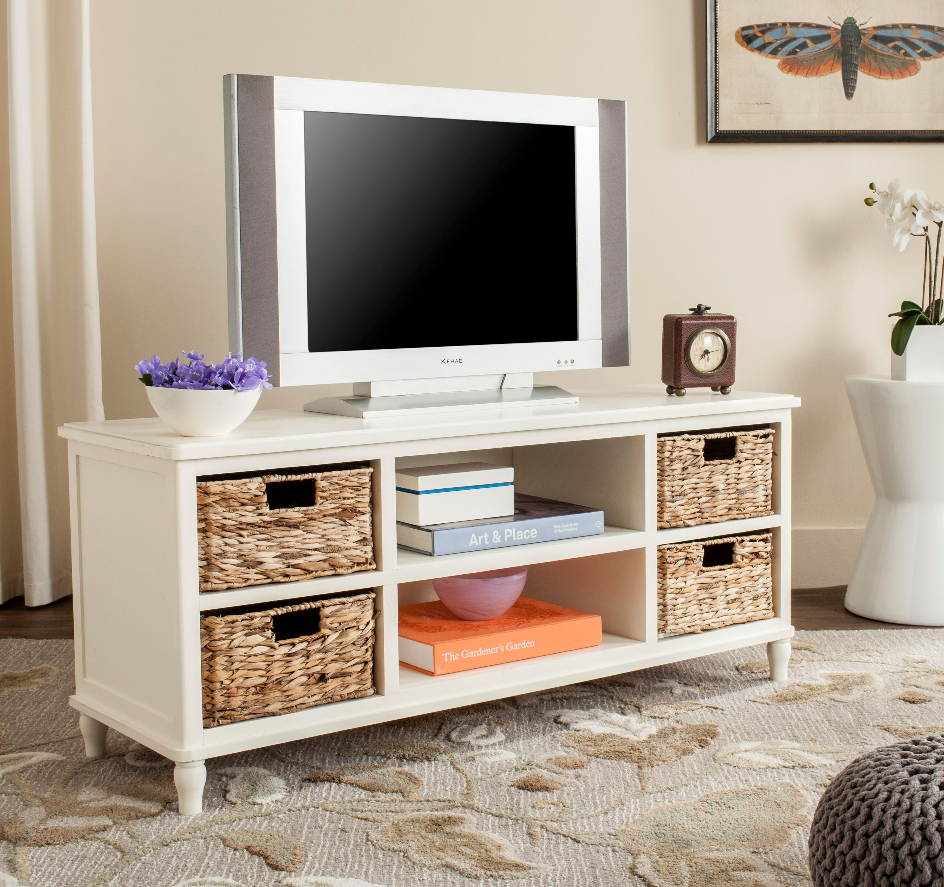 Safavieh Rooney Solid Entertainment Unit with 4 Wicker Baskets