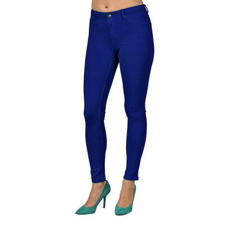 (Womens High Fashion Colored Stretch Leggings Pants 2 Back Pocket Royal Blue)