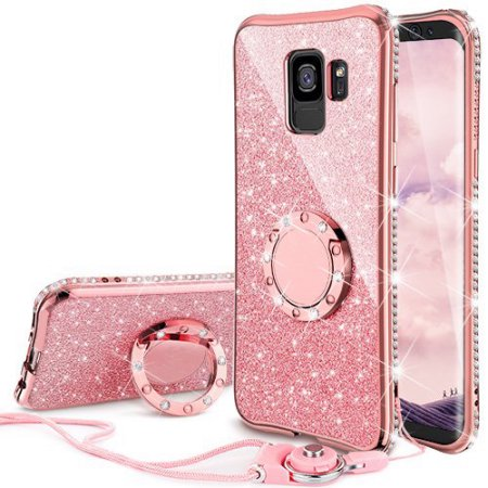 Glitter Cute Ring Stand Phone Case for Samsung Galaxy S9 Case, Bling Rhinestone Bumper Kickstand Sparkly Luxury Clear Thin Soft Protective for Girls Women - Purple