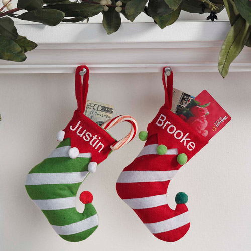 "Personalized 7"" Mini Christmas Stocking, Available in Red or Green Striped"