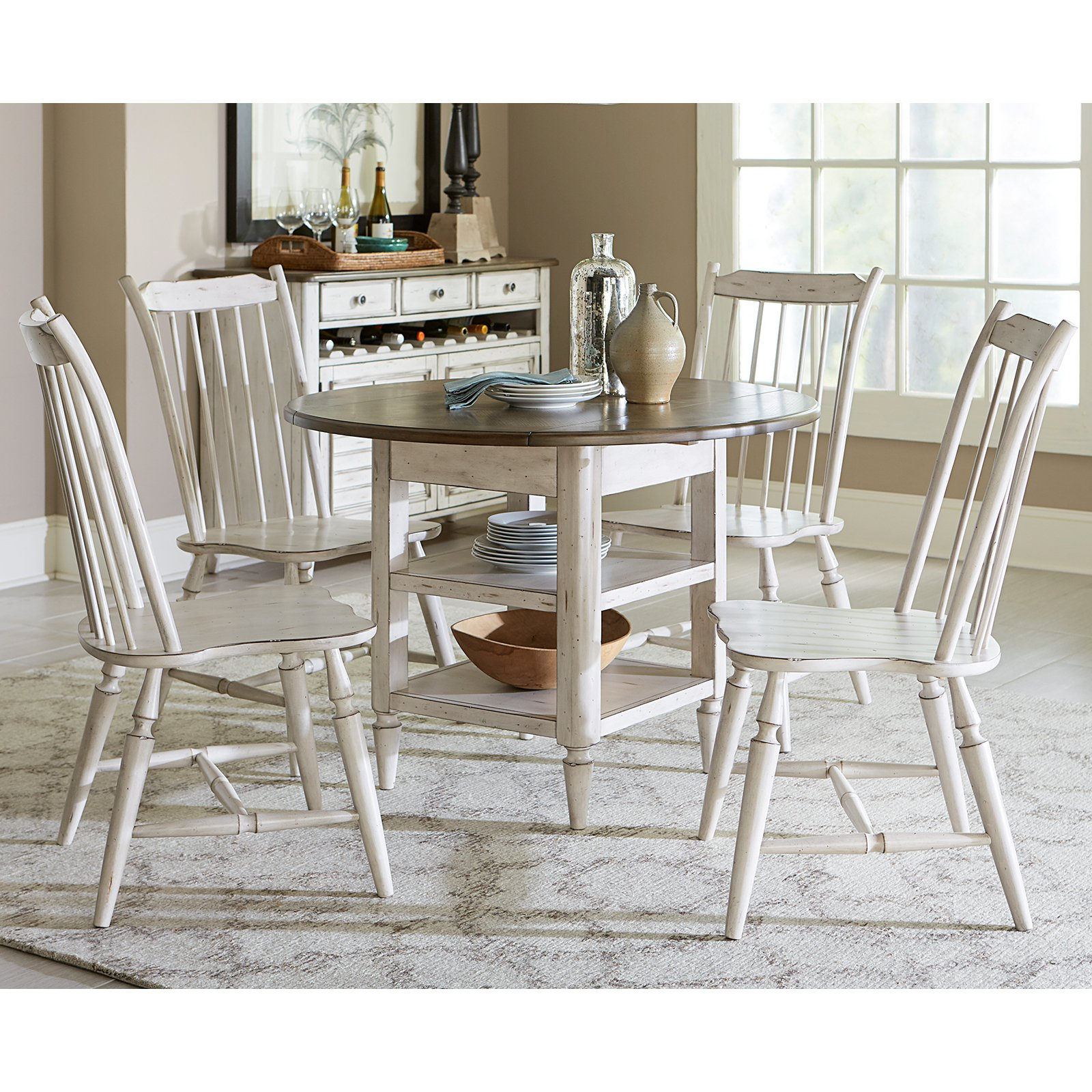 Liberty Furniture Oak Hill 5 Piece Drop Leaf Dining Table Set