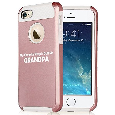 For Apple iPhone 7 Shockproof Impact Hard Soft Case Cover My Favorite People Call Me Grandpa (Rose