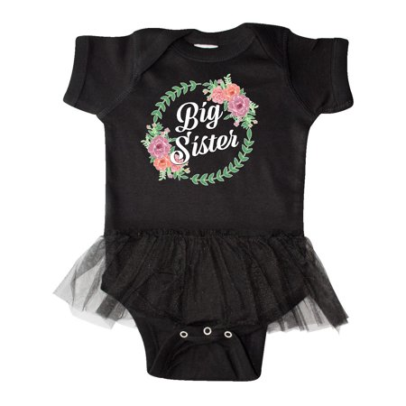 Flower Button Bodysuit - Big Sister with Flower Circle Infant Tutu Bodysuit