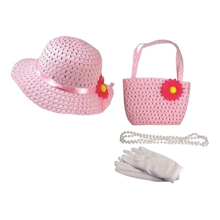 Girls Tea Party Dress Up Play Set With Sun Hat, Purse, White Gloves, and Plastic Pearl Necklace - Pink](Tea Party Hats And Gloves)