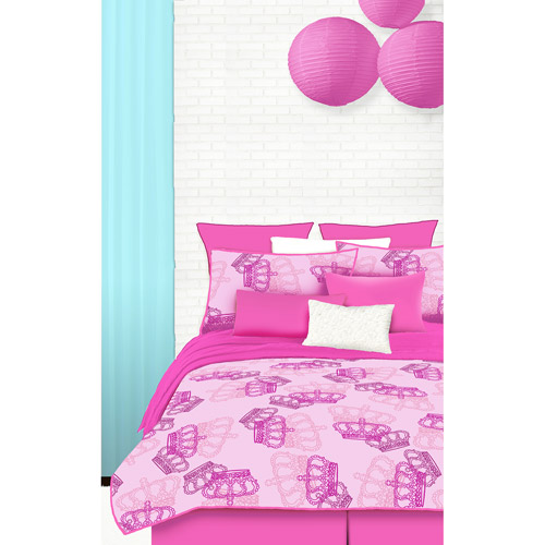 Veratex Pink Crowns Microfiber Bed in a Bag Bedding Set
