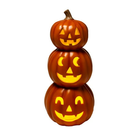 Hyde & EEK! Boutique Light Up Triple Stacked Orange Pumpkins Halloween Decorative Prop