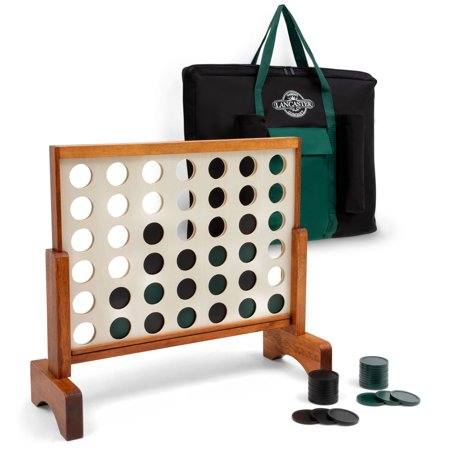 Lancaster Gaming Company 3 Foot 4 In A Row Wooden Outdoor Game Set w/ Carry Bag