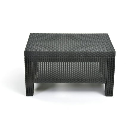 Keter Corfu Resin Coffee Table All Weather Plastic Patio Furniture - Gray wicker coffee table