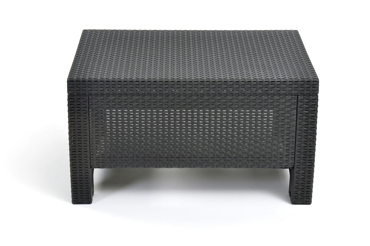 Keter Corfu Resin Coffee Table, All Weather Plastic Patio Furniture,  Charcoal Gray Rattan Image