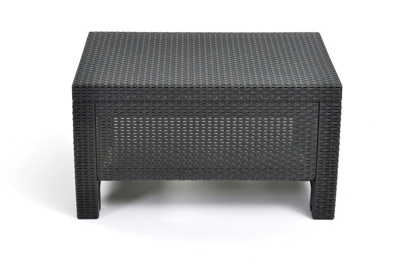 Keter Corfu Resin Coffee Table, All Weather Plastic Patio Furniture,  Charcoal Gray Rattan