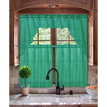 K66 HUNTER GREEN 3-PC Luxurious Sheer Organza Kitchen Rod Pocket Window Curtain Treatment Set, Beautiful Solid Tier Panels with Matching Valance Swag