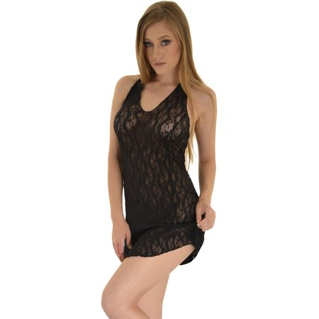 Womens Lace Chemise Halter V-neck Babydoll Short Mini Dress Red White or Black Black Banded Halter Mini