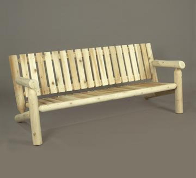 "72"" Natural Cedar Log Style Outdoor Wooden Bench"