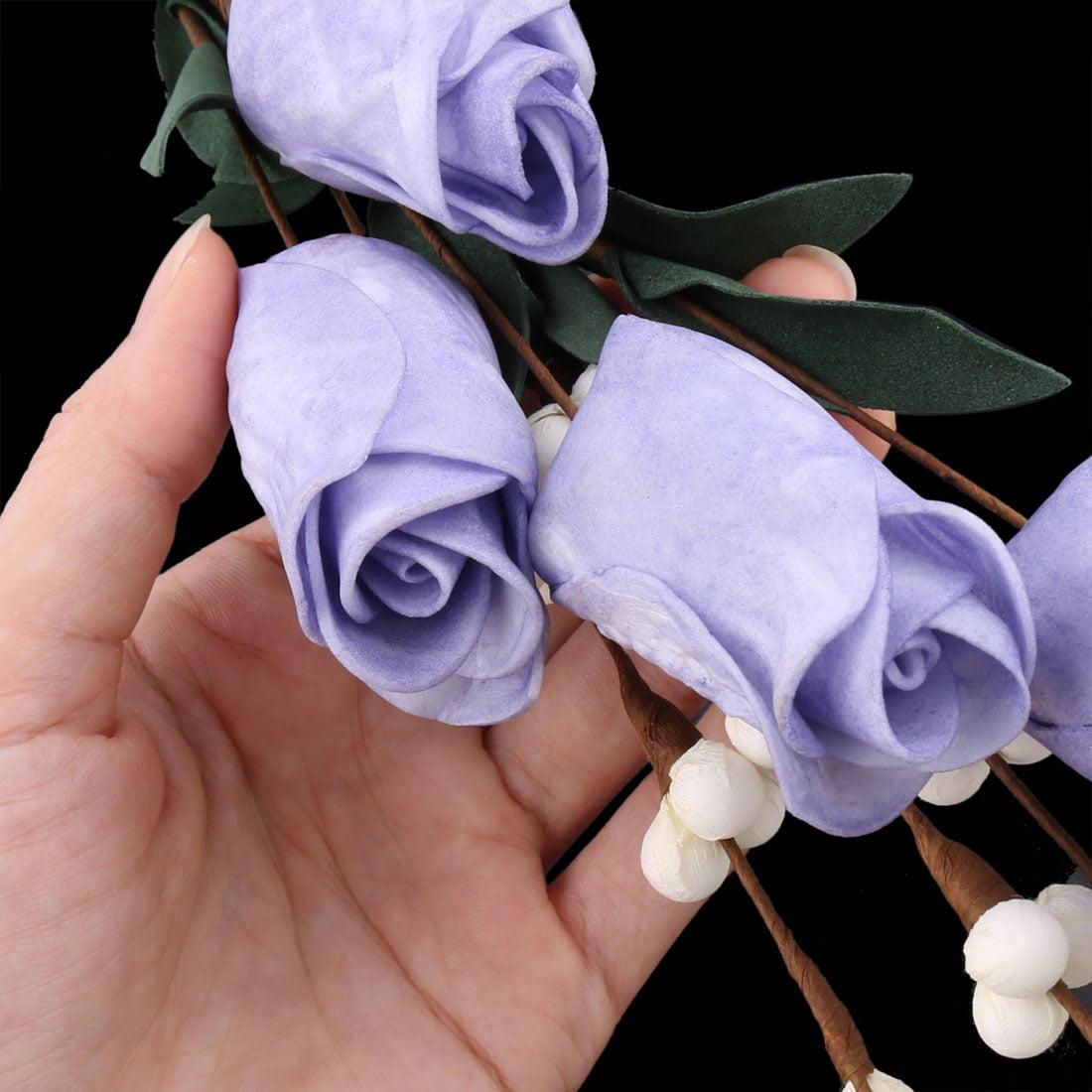 Living Room Garden Foam Tulip Shaped Table Decor Artificial Flower Purple 2 Pcs - image 3 of 4