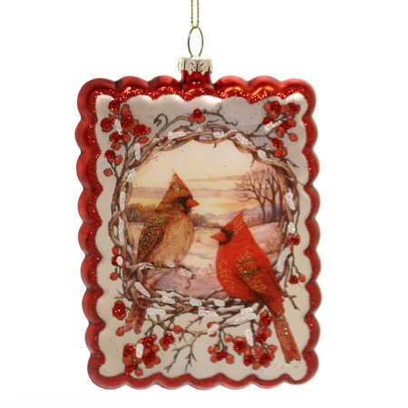 Holiday Ornaments CARDINAL ORNAMENT Glass Male Female - Cardinal Ornaments