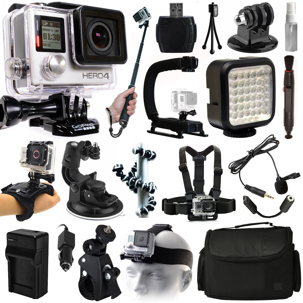 GoPro HERO4 Hero 4 Black Edition Action Camera Camcorder + Selfie Stick + Stabilizer + LED Video Light + Microphone + Chest Strap + Hand/Wrist Glove Strap + Head/Helemet Mount + Case (CHDHX-401)