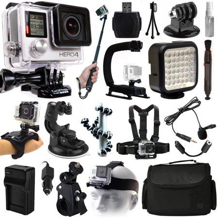 Gopro Hero4 Hero 4 Black Edition Action Camera Camcorder   Selfie Stick   Stabilizer   Led Video Light   Microphone   Chest Strap   Hand Wrist Glove Strap   Head Helemet Mount   Case  Chdhx 401