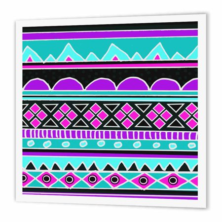 3dRose Bright tribal pattern - neon blue fluorescent hot pink purple black 80s aztec zigzag patterned rows, Iron On Heat Transfer, 6 by 6-inch, For White