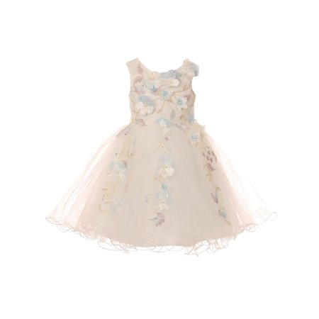 Cinderella Couture Little Girls White 3D Floral Tulle Flower Girl - Cinderella Dress Girl