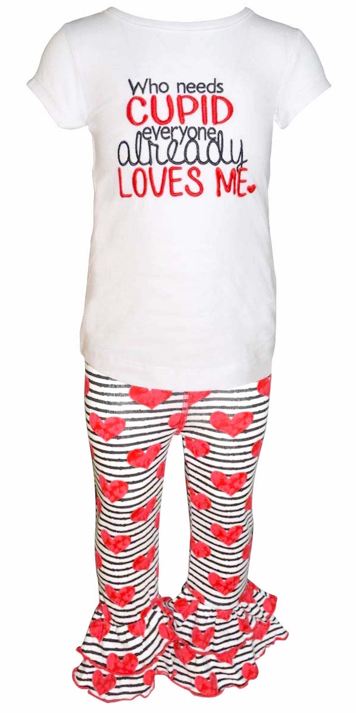 """30aa4aaf0 Unique Baby - Unique Baby Girls """"Who Needs Cupid"""" Valentine's Day Outfit  (2t) - Walmart.com"""