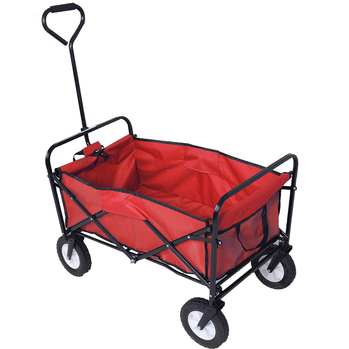 Costway Collapsible Folding Wagon Cart Garden Buggy Shopping Beach Toy Sports Red/blue (Red)