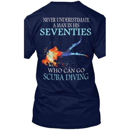 Never Scuba Seventies Man Shirt Hanes Tagless Tee - Seventies Clothes
