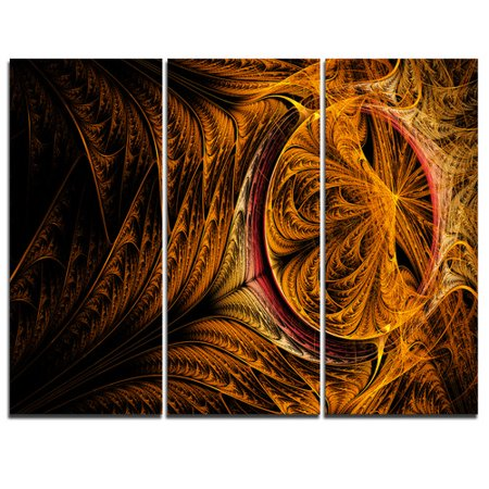 Design Art Golden Fractal Desktop Wallpaper   3 Piece Graphic Art On Wrapped Canvas Set