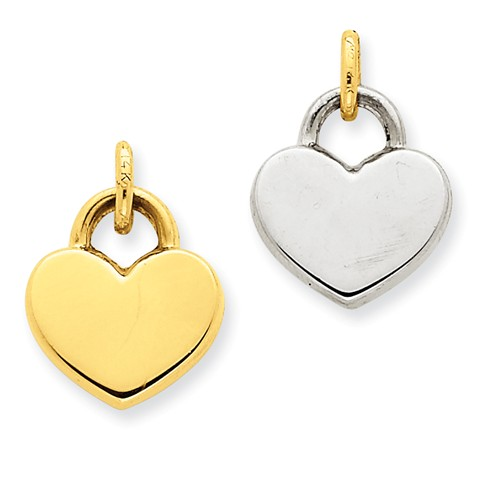 14k Yellow Gold & Rhodium Hollow Polished Reversible Heart Pendant