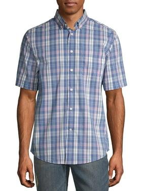 George Men's and Big Men's Plaid Poplin Short Sleeve Shirt