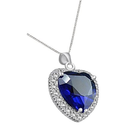 Titanic heart of the ocean simulated blue sapphire cubic zirconia titanic heart of the ocean simulated blue sapphire cubic zirconia pendant necklace 14k white gold over sterling silver walmart aloadofball Choice Image