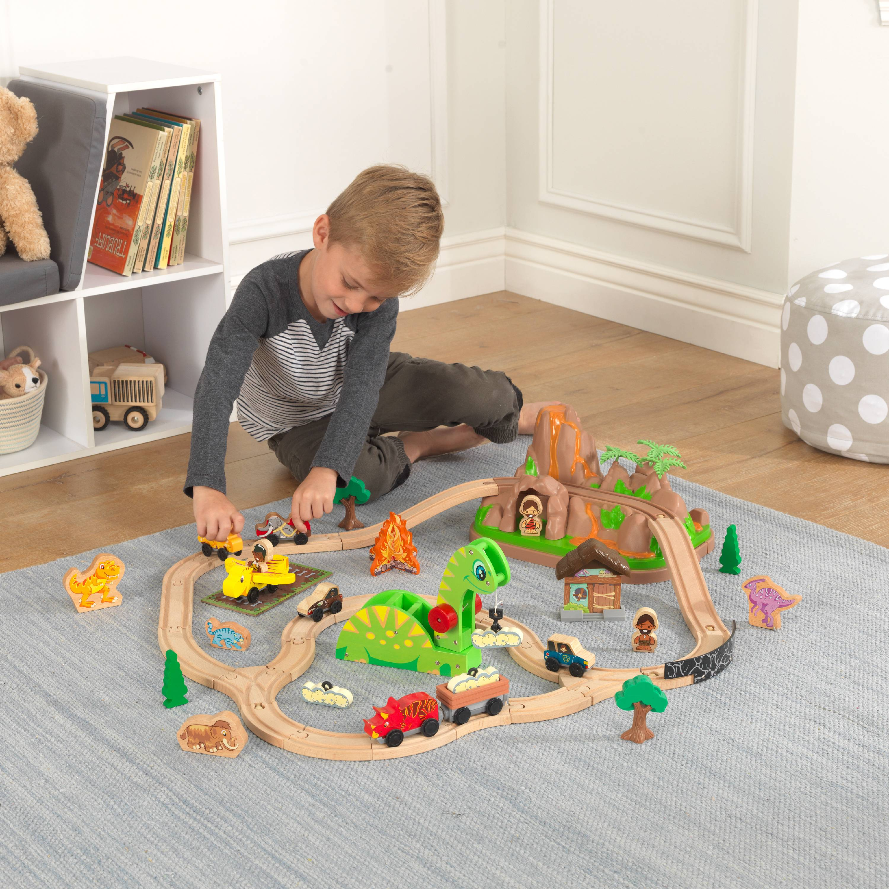 KidKraft Dinosaur Bucket Top Train Set with 56 accessories included by KidKraft