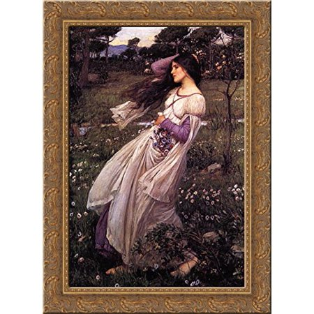 Windflowers 24x18 Gold Ornate Wood Framed Canvas Art by John William Waterhouse