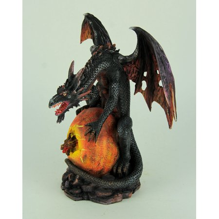 Black Dragon with Hatching Fire Egg Statue - image 2 of 3