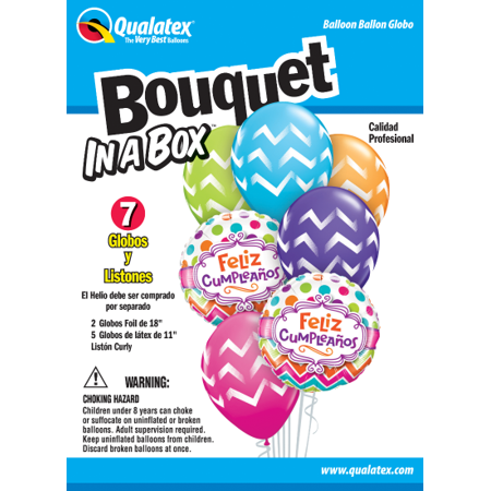 Party Supplies - Pioneer - 7 ct.Balloon Bouquet-in-a-Box Set - Feliz Cumpleanos 57820 - image 1 of 1