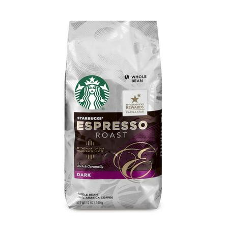 Starbucks Espresso Roast Dark Roast Whole Bean Coffee, 12-Ounce Bag