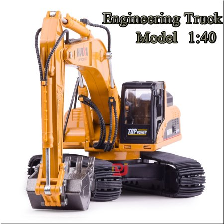 Excavator Tractor Toy (1/40 Scale Alloy Construction Vehicle Toy Truck Excavator Model Goldmine Digger Scooter Pulling Cart Tractor Car Kids Childrens Pretend Play Toys Christmas Birthday Gift)