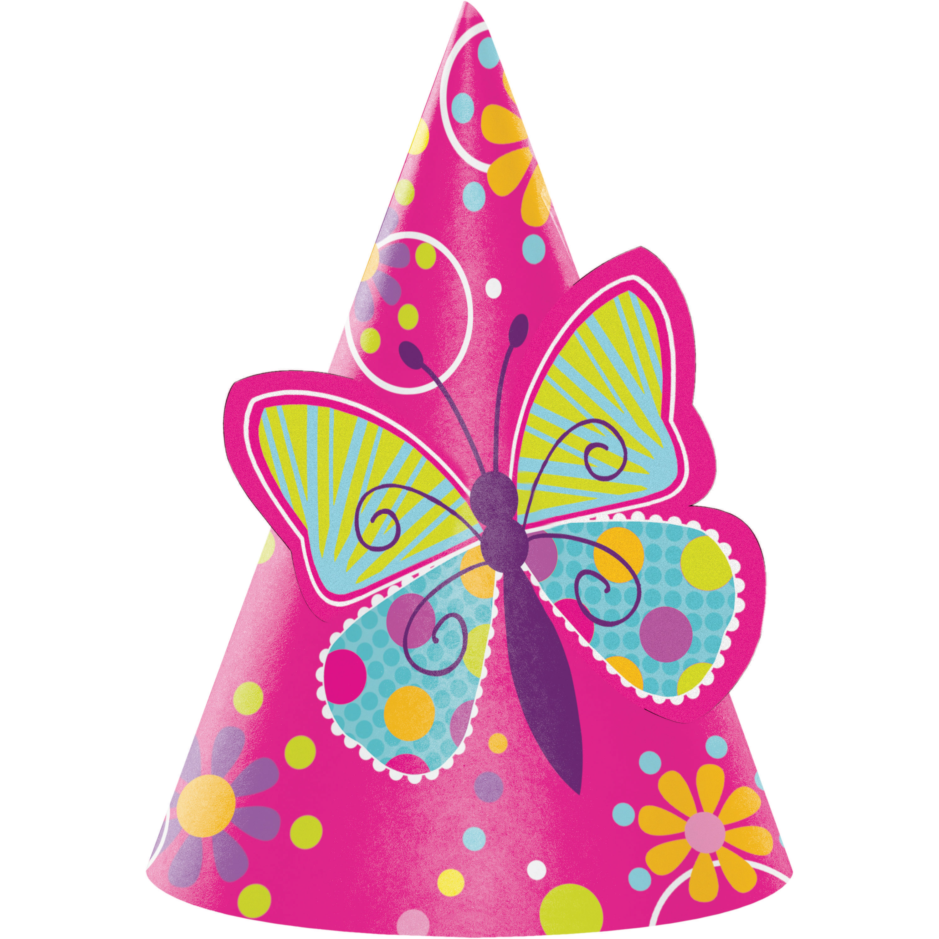 Butterfly Party Hats, 8 pk