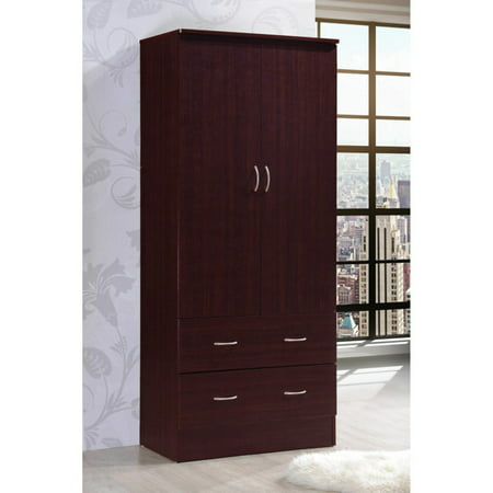 Hodedah Imports 2 Drawer 2 Door Wardrobe 2 Door Walnut Armoire